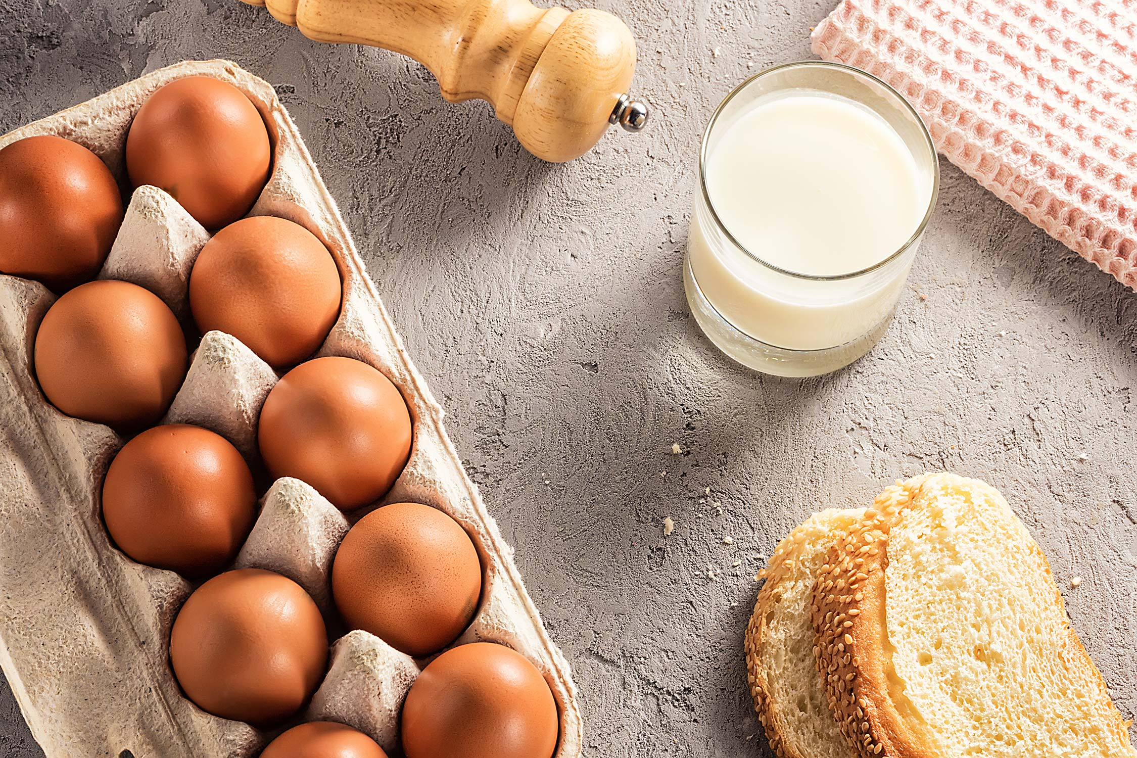 Eggs, bread, and milk